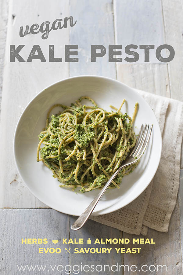 Delicious and healthy vegan kale pesto: herbs, kale, evoo, almond meal, savoury yeast flakes and salt and pepper.