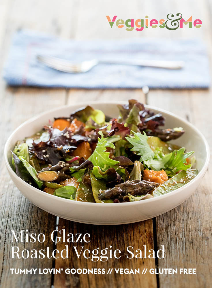 Miso glazed roast veggie salad