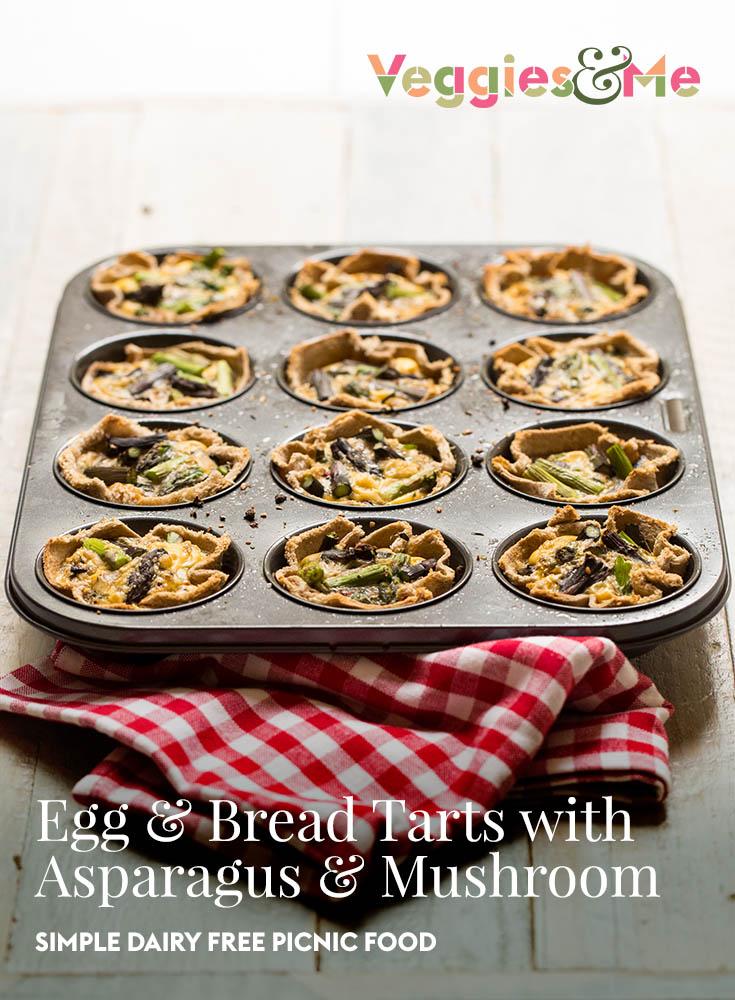Egg & Bread Tarts with Asparagus & Mushroom